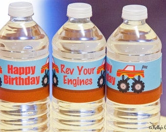 Monster Truck Birthday Water Bottle Wraps, Instant Download, Printable, Digital