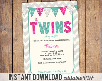 gender neutral twins baby shower invitations, chevron, modern, fuchsia and turquoise,boy girl twins, instant download, editable PDF