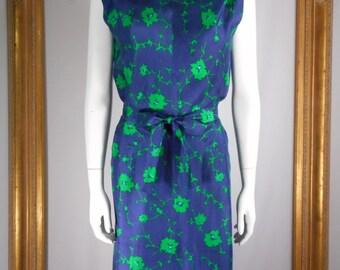 Vintage 1960's Blue & Green Floral Print Silk Dress - Size 12