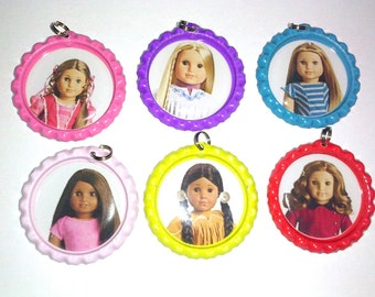 american girl party favor bottlecap image necklace keychain