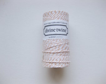 100 Yards of PEACH DIVINE - Peach and White Bakers Twine