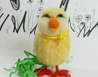 Needle felted yellow chick, yellow Easter chick, felted Easter chick, spring chick, yellow and orange chick for spring