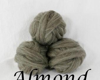 Wool roving in Almond, 1 ounce wool roving for needle felting, wet felting, spinning, 1 oz wool roving sampler, dyed wool sampler