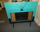Turquoise & Black Up-Cycled Mid Century 1950's TV Cabinet Display Stand Table