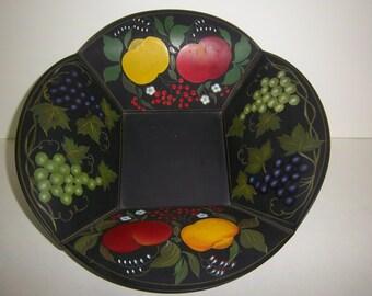 Antique Handpainted Tin Bowl black w/ fruit design