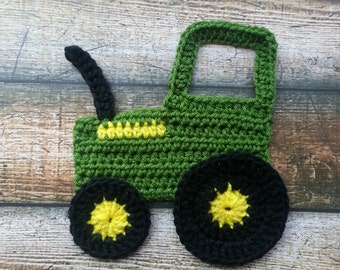 Tractor Applique John Deere Pattern - Beginner, Easy Crochet Level