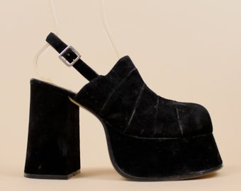 90s Vtg Black VELVET Mega PLATFORM Mule CLOG Sandal / Glam Chunky Heel Grunge Club Kid Goth Lolita Slingback 10 - 9.5 Eu 42 41
