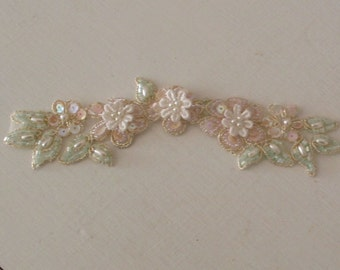 Beaded Trim Wedding Pink Ivory