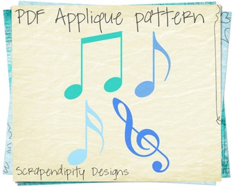 Music Notes Applique Template - Musical Applique Pattern / Kids Boys Music Shirt / Treble Clef Clipart / Music Quilt Pattern Digital AP315-D