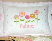 Personalized Pretty Pink Poppies Scalloped Baby Pillow