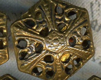 Antique Victorian Brass Cricket Cage Button 9/16 inch 14mm Hexagon Set of 7 Sewing Buttons