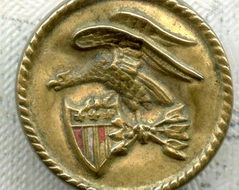 Rare Antique Brass Military Button ~ 1/2 inch 13mm ~ Flying Eagle Arrows & Shield ~ Metal Sewing Button