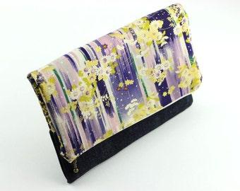 Gift For Her, Handmade Handbag, Women Purse Clutch, OOAK Fold Over Clutch, Kimono Cotton Chrysanthemum Purple
