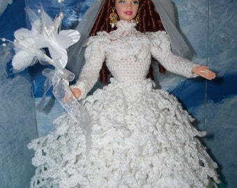 Crocheted Barbie Wedding Gown