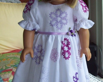 American Girl Doll or 18 inch doll  dress and hair clip. White  voile floor length dress with embroidered flowers.