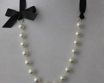 Ivory Pearl and Black Ribbon Bow Necklace