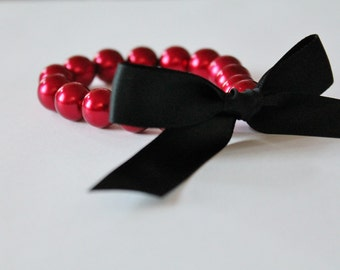 Red Pearl and Black Ribbon Bracelet