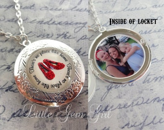 Wizard of Oz Locket with Custom Photo - Sparkle Ruby Slipper Necklace - Personalized Picture - No Place Like Home Going Away Gift