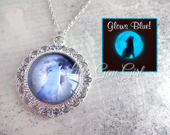Glowing White Wolf Full Moon Necklace - Victorian Silver Necklace - Howling Wolf Glow in the Dark Moon Pendant Glowing Moon Glass Charm