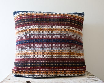 Vintage Bohemian Pillow - Patterned Pillow Bright Knit Blue Pillow Orange Red White Knit Pillow Sewn Bedding