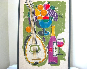 Vintage Tapestry - Mid Century Wall Hanging - Wine, Mandolin, Fruit Basket - Retro Embroidery - Wall Hanging