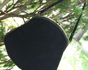Vintage Black Purse Evening Bag 1950s - JR - Gold trim. Change purse.
