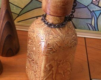 Man Cave ,Hand tooled leather matador 70s decanter.