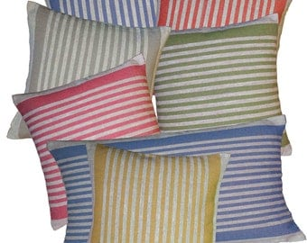 Cushion Cover Ticking Stripe 100% Linen Grey Pillow Case Rough BasketWeave Rustic Country Colorful and Stylish - Pick Your Size and Color