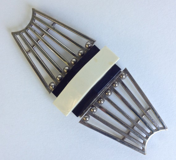 Art Deco Celluloid and Metal Belt Buckle