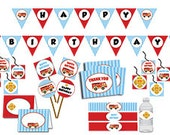 Fire Fighter Birthday Decorations Package INSTANT DOWNLOAD DIY - Red Firetruck Cheif Badge Birthday Decorations Blue and Red