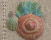 Handmade Porcelain Shell and Sea-fan Focal Bead in Rainbow Pastels