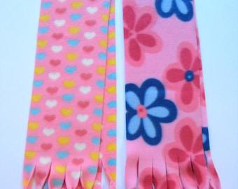 Girls Scarf Pink Polar Fleece Fringe  - Hearts or Flowers, Winter Scarf, Warm Scarf
