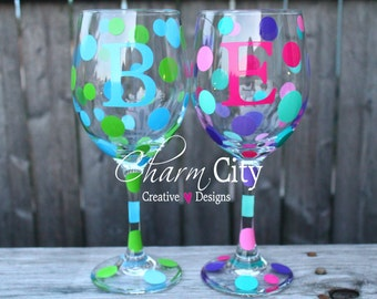 Personalized Wine Glasses with Initial 20 oz