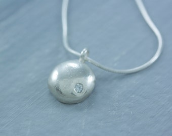 READY TO SHIP Sterling Silver Pebble Charm with Cubic Zirconia and 16 inch Snake Chain Necklace
