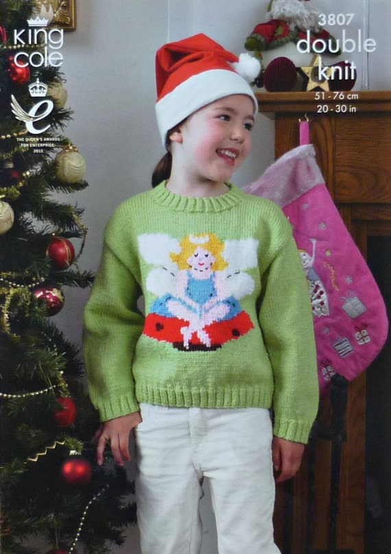 K3807 Childrens Long Sleeve Jumper with Fairy design Knitting Pattern DK (Light Worsted) King Cole