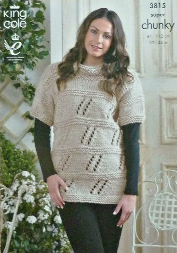 Knitting Pattern Ladies Short Sleeve Jumper : Womens Knitting Pattern K3815 Ladies Short Sleeve Long