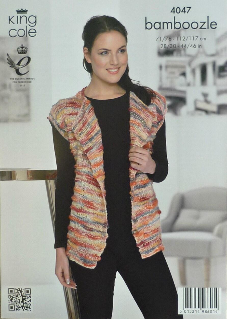 Download Knitting Patterns King Cole : Womens Knitting Pattern K4047 Ladies Sleeveless Waistcoat with Reveres Knitti...