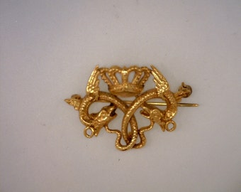 Serpent and Crown 14 Karat Gold Pin Vintage Jewelry Kathy Bates Collection