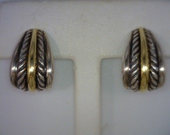 """Sterling Silver 18K Yellow Gold Post Earrings, Geniune David Yurman Classic Cable Design, Owner Actress Kathy Bates, 7/8"""" Long"""