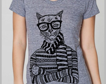Women's Hipster Cat T Shirt  American Apparel Tee S, M, L, XL  8 COLORS Full Spectrum Apparel