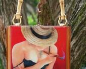 Holiday Gift. Cigar Box  Purse w/ beautiful Artwork .  Five Cuban Art to Choose. 100% Handmade