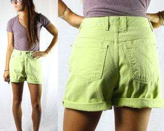 Vintage Retro Green Levi Style High Waisted Shorts