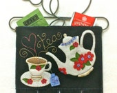 Mini-More Love My Tea Time Wall Hanging/Gift Holder PRECUT Wool Applique KIT wInstructions, Tea Pot, Penny Rug, Needlecraft, Tea Cups, flwrs