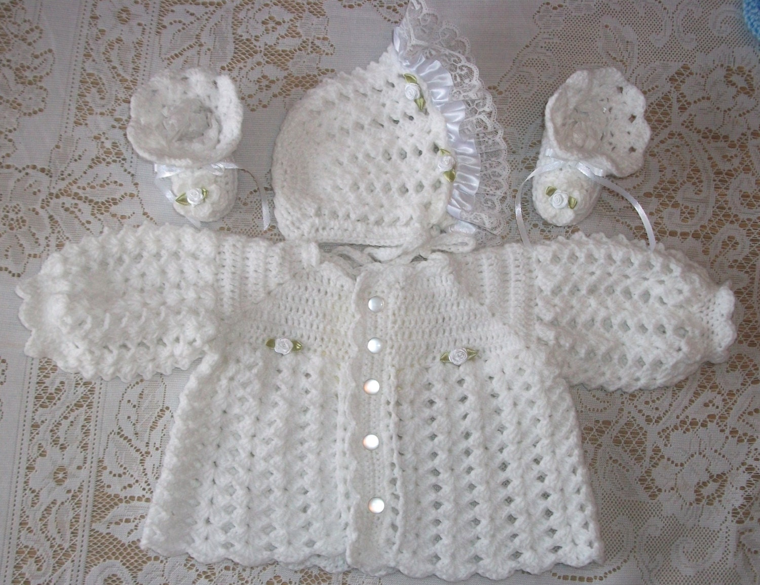 Crochet Baby Girl White Sweater Set Bonnet And Booties