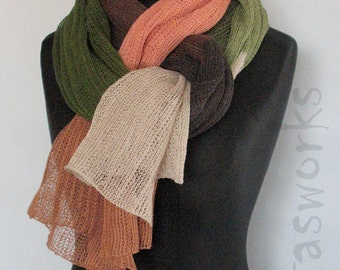 Linen Scarf Shawl Wrap Stole Beige Brown Green Moss Multicolored