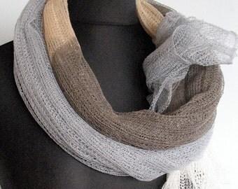 Linen Scarf Striped Unisex Gray Brown Beige Organic Linen Women's Scarf Pure Linen Spring Clothing