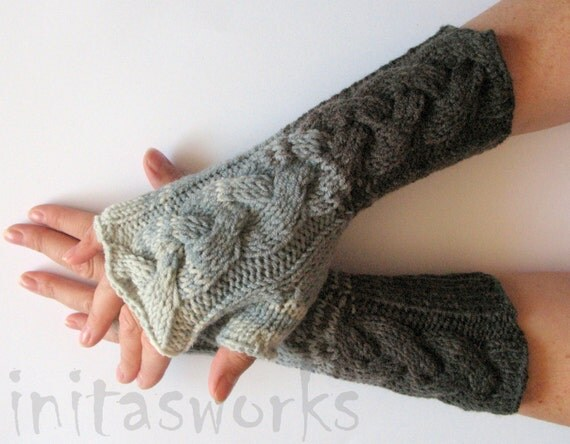 Fingerless Gloves Mittens wrist warmers White Gray Dove Black