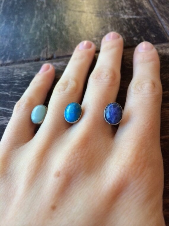 Three Stone Double Ring- Blue Shades