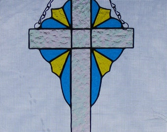 Stained Glass Cross - 10 in. tall - Cross with Outside Design