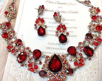 Wedding jewelry set, Red crystal bib necklace and earrings, vintage inspired crystal necklace statement, crystal jewelry set